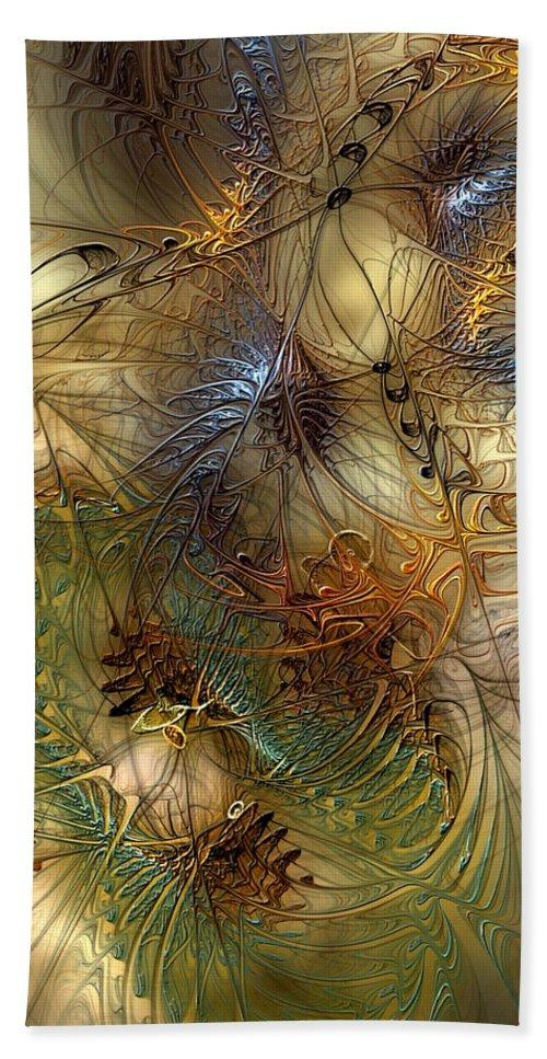 Abstract Bath Sheet featuring the digital art Improvisation For Mahavishnu by Casey Kotas