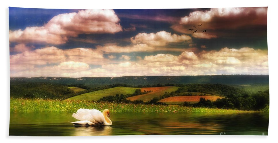 Nature Bath Towel featuring the digital art In A Land Far Away by Lois Bryan
