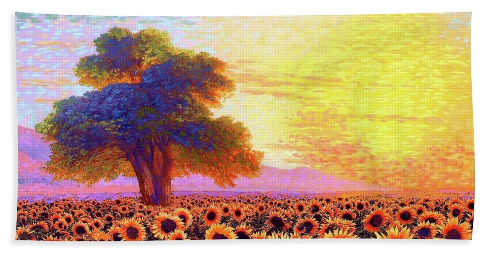 Field Bath Towel featuring the painting In Awe Of Sunflowers, Sunset Fields by Jane Small