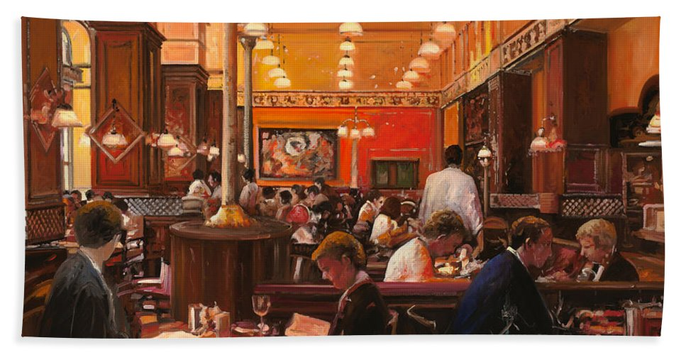 Coffee Shop Bath Sheet featuring the painting In Birreria by Guido Borelli