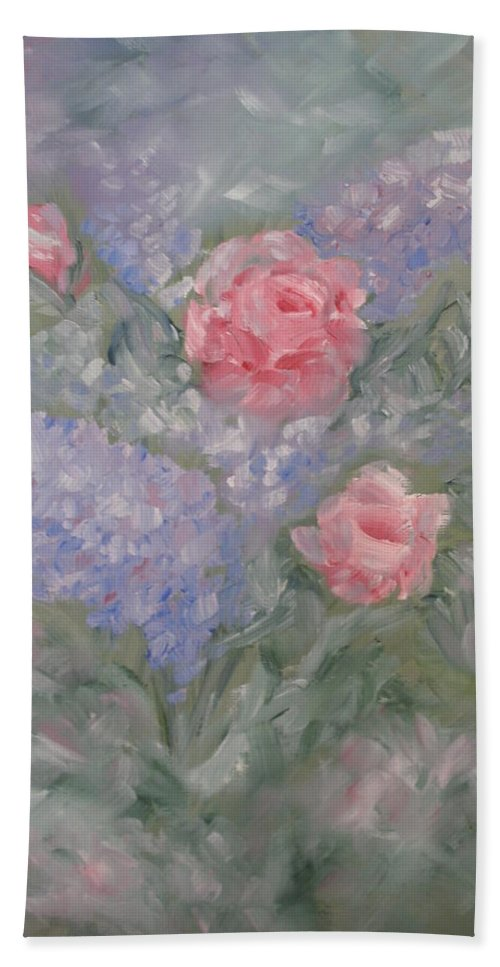 Flowers Bath Sheet featuring the painting In Bloom by Carrie Mayotte