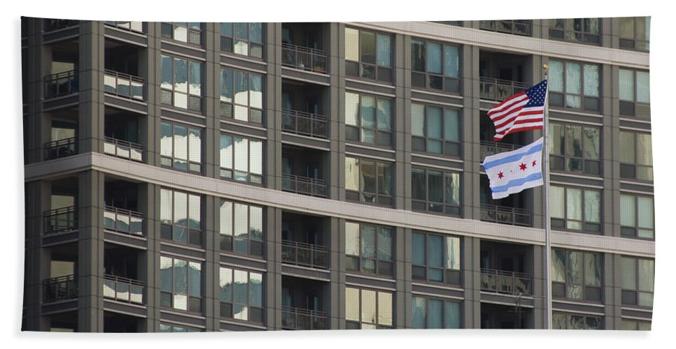 Chicago Windy City Metro Urban Building Windows Flag Reflection Bath Towel featuring the photograph In Chicago by Andrei Shliakhau
