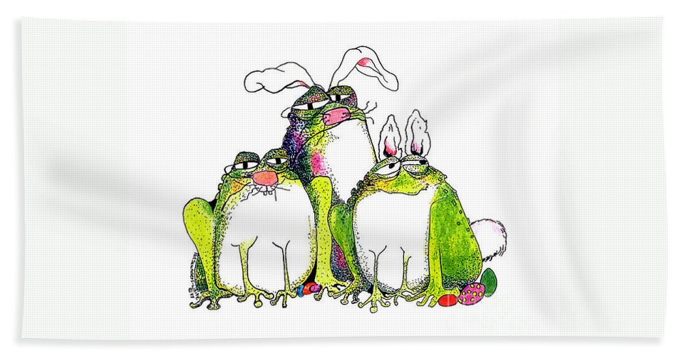 Easter Bunnies Bath Sheet featuring the painting In Disguise by Pat Saunders-White