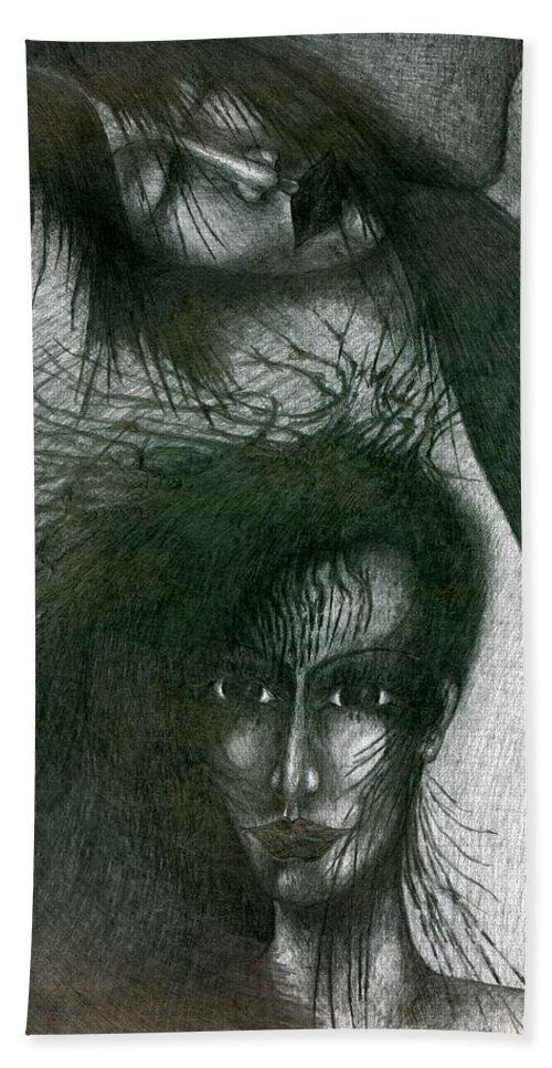 Psychedelic Bath Sheet featuring the drawing In Dream by Wojtek Kowalski