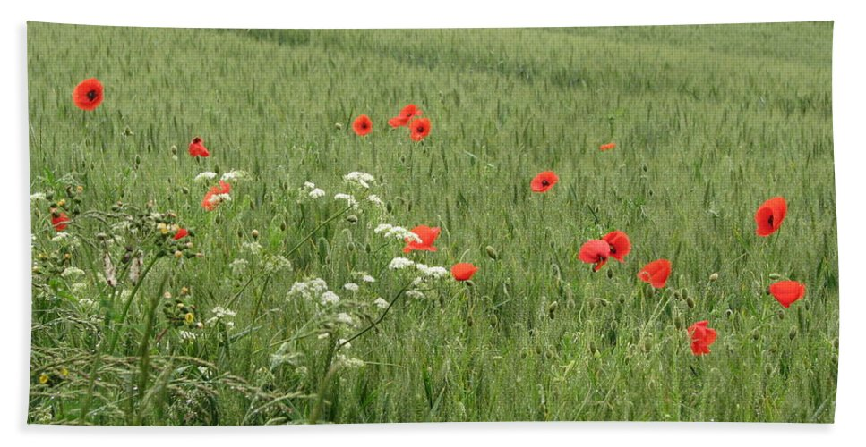 Lest-we Forget Bath Sheet featuring the photograph in Flanders Fields the poppies blow by Mary Ellen Mueller Legault