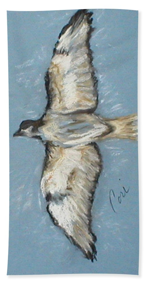 Bird Hand Towel featuring the drawing In Flight by Cori Solomon