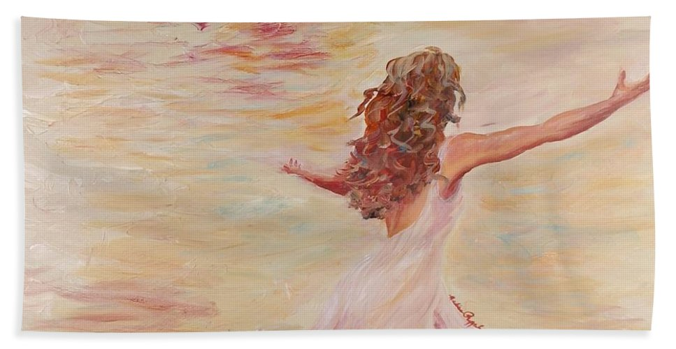 Dance Bath Sheet featuring the painting In Him We Live by Nadine Rippelmeyer