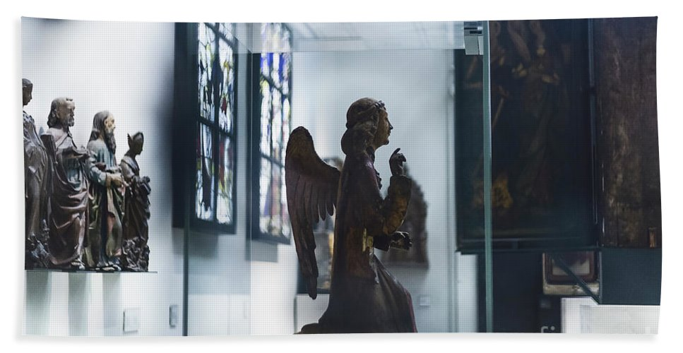 Angel Hand Towel featuring the photograph In London Museums 9 by Alex Art and Photo