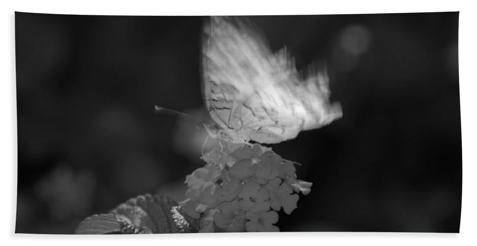Black And White Bath Sheet featuring the photograph In Motion by Rob Hans