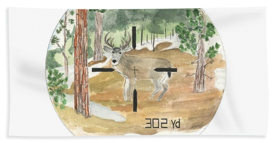 Range Hand Towel featuring the painting In Range by Sara Stevenson