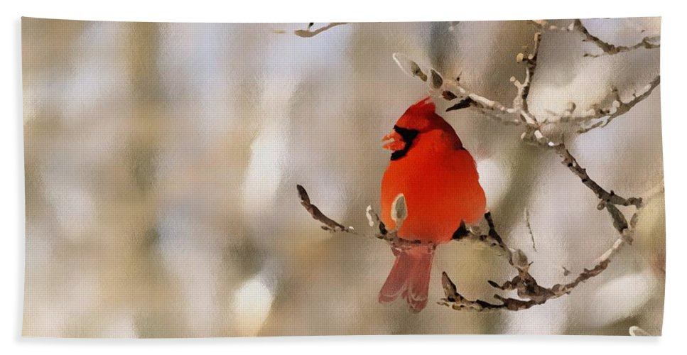 Cardinal Bath Towel featuring the photograph In Red by Gaby Swanson
