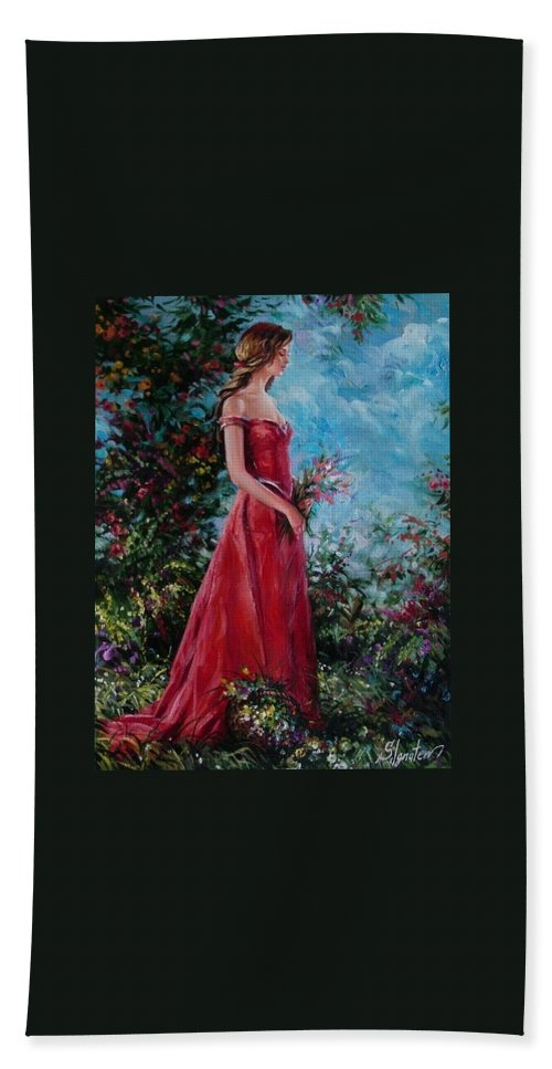 Figurative Bath Towel featuring the painting In Summer Garden by Sergey Ignatenko