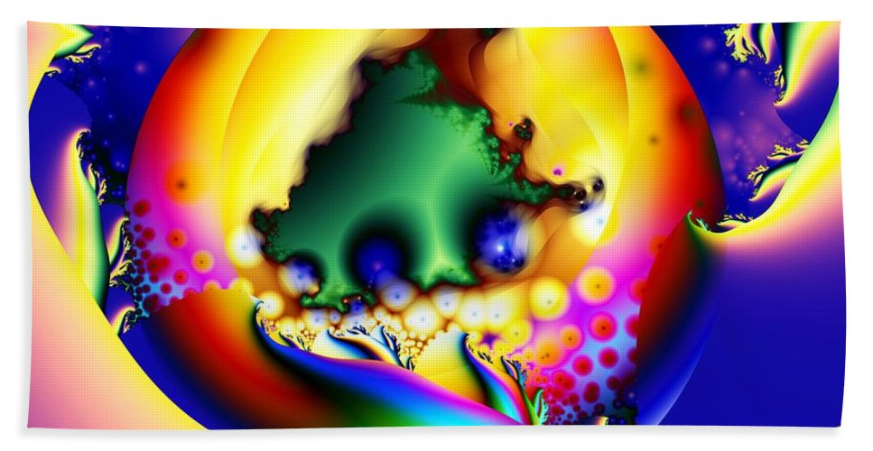 Fractal Hand Towel featuring the digital art In The Beginning by Ron Bissett