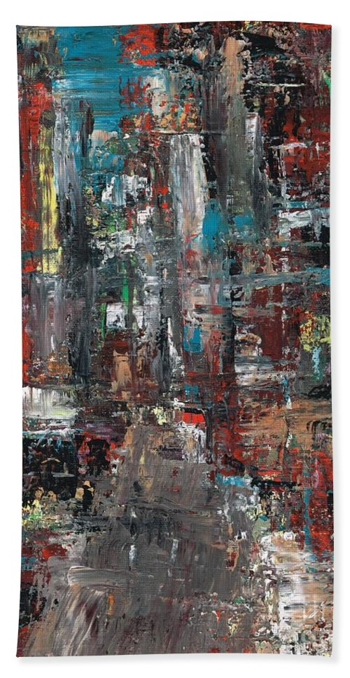 Cities Hand Towel featuring the painting In The City by Frances Marino