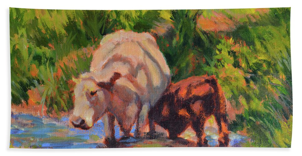 Impressionism Hand Towel featuring the painting In The Creek by Keith Burgess