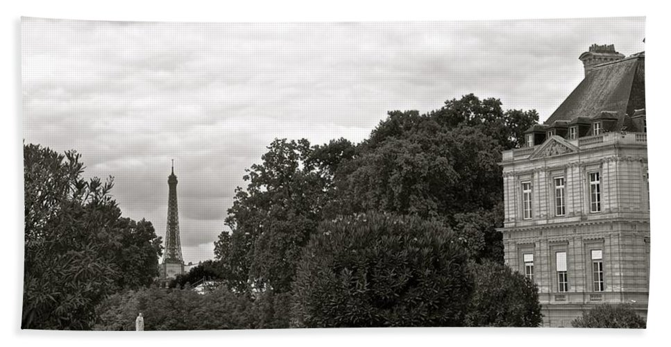 Eiffel Tower Bath Sheet featuring the photograph In The Distance by Corinne Rhode