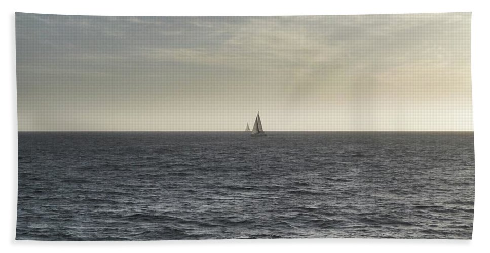 Sailboat Hand Towel featuring the photograph In The Distance by Robbie McCown