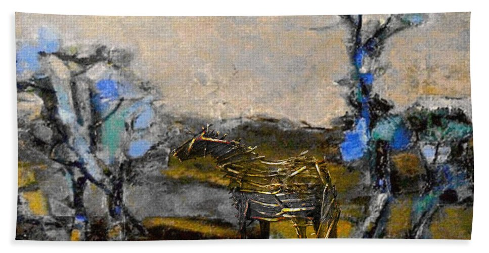 Modern Painting Bath Sheet featuring the mixed media In The Field 30 by Pemaro