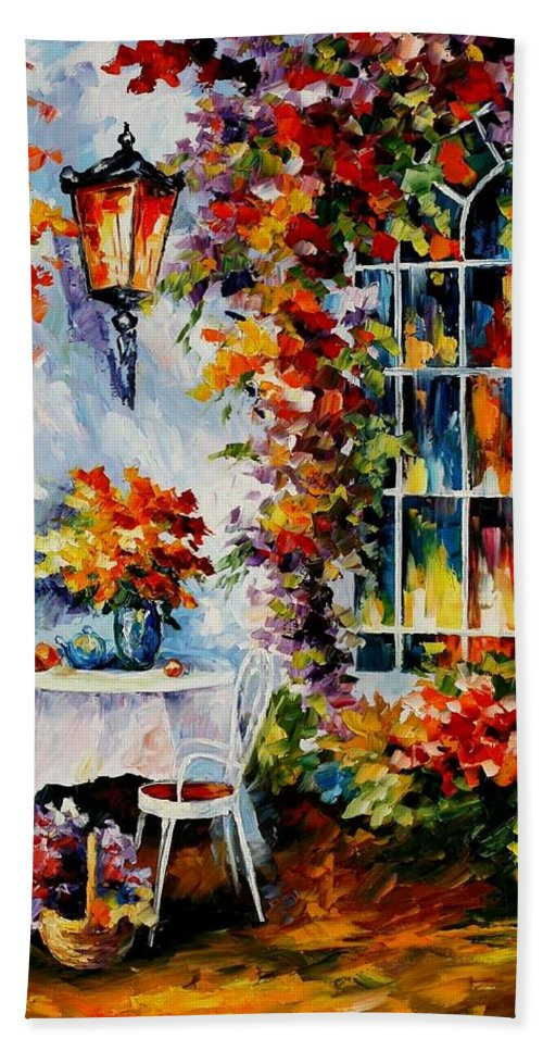 Afremov Bath Sheet featuring the painting In The Garden by Leonid Afremov