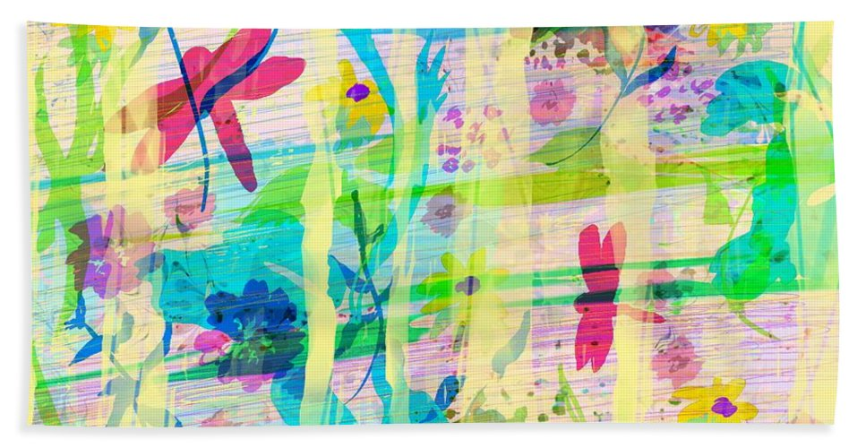 Abstract Bath Sheet featuring the digital art In The Garden by Rachel Christine Nowicki