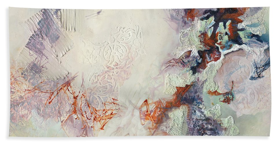 Abstract Bath Sheet featuring the painting In The Garden by Thyra Moore