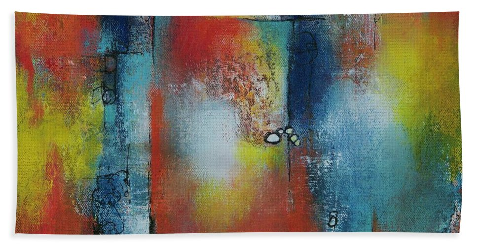 Abstract Bath Sheet featuring the painting In The Heat Of The Night by Laurie DeVault