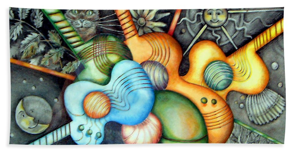 Guitars Music Semi Abstract Bath Sheet featuring the drawing In The Key I See by Linda Shackelford