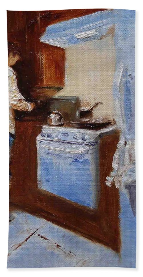 Cooking Hand Towel featuring the painting In The Kitchen by Barbara Andolsek
