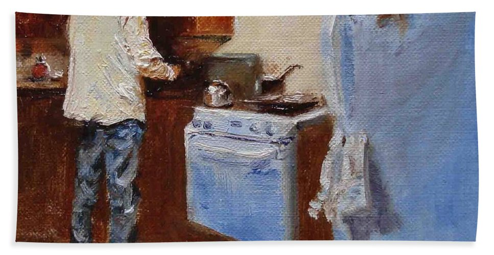 Cooking Bath Towel featuring the painting In The Kitchen by Barbara Andolsek