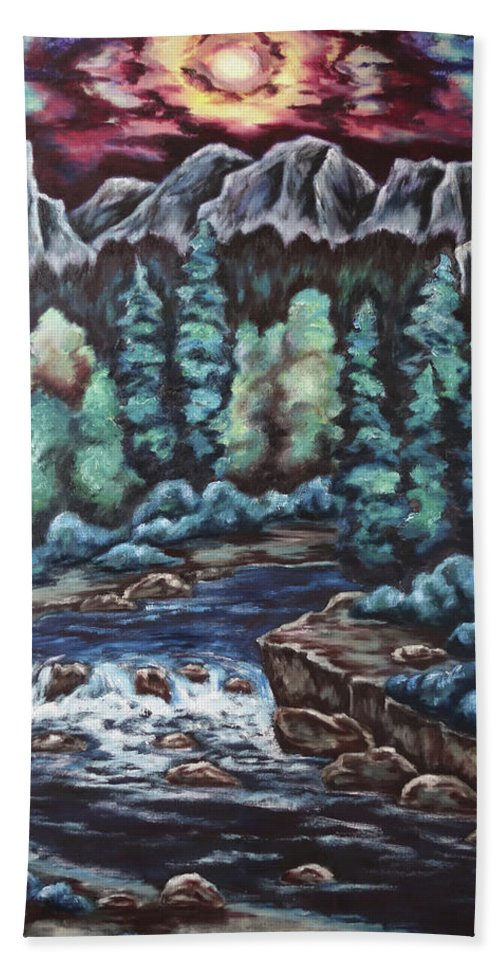 Sunset Bath Sheet featuring the painting In The Land Of Dreams by Cheryl Pettigrew