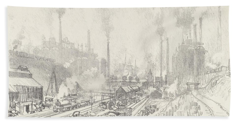 Hand Towel featuring the drawing In The Land Of Iron And Steel by Joseph Pennell