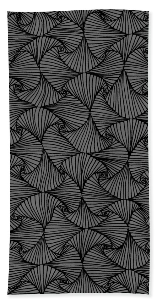 Black And White Bath Sheet featuring the drawing In The Moment by A Mad Doodler