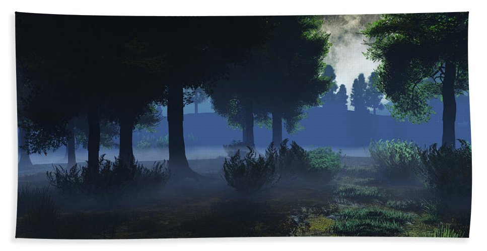 Fog Hand Towel featuring the digital art In The Moon Light by Max Steinwald