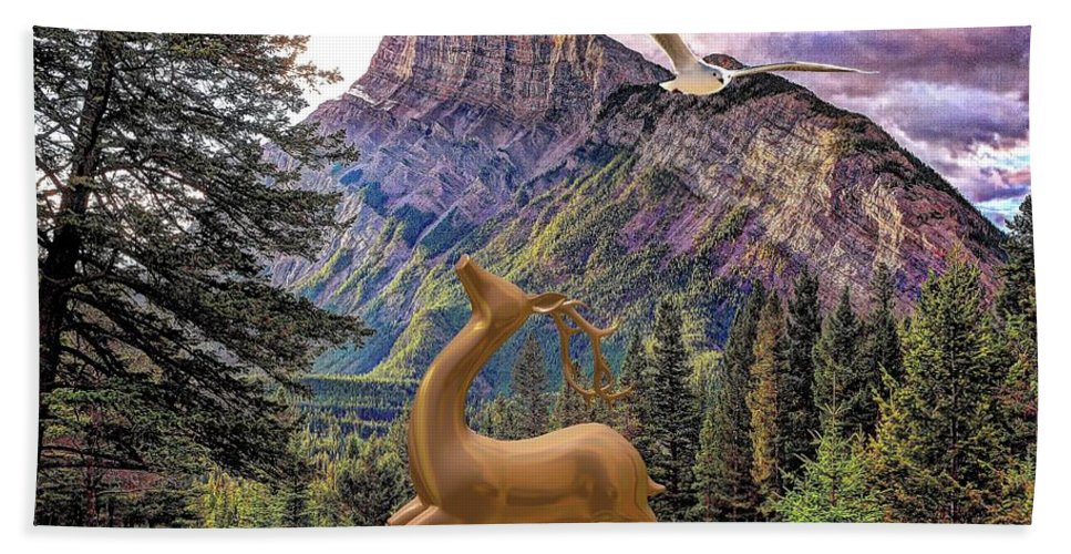 Modern Painting Hand Towel featuring the mixed media In The Mountains by Pemaro