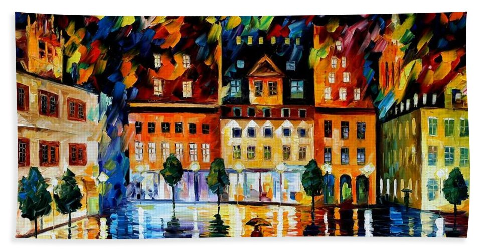 Afremov Bath Sheet featuring the painting In The Old City by Leonid Afremov