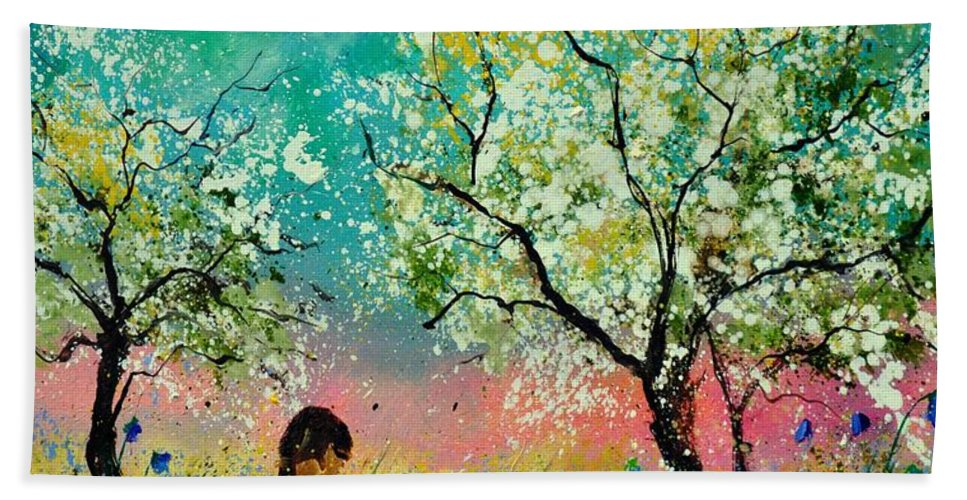 Landscape Bath Sheet featuring the painting In The Orchard by Pol Ledent