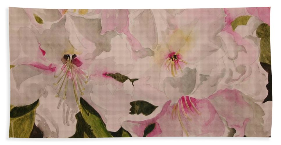 Pink Bath Towel featuring the painting In The Pink by Jean Blackmer