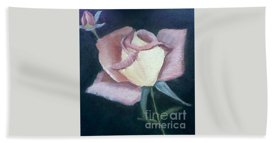 Roses Bath Towel featuring the painting In The Pink by Joanne Dour