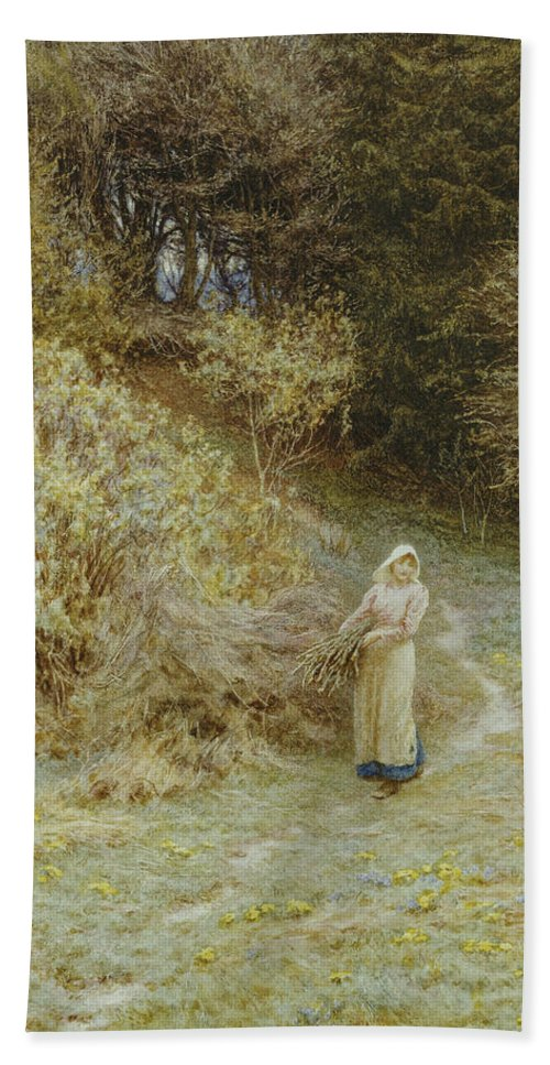 In The Primrose Wood Bath Sheet featuring the painting In The Primrose Wood by Helen Allingham
