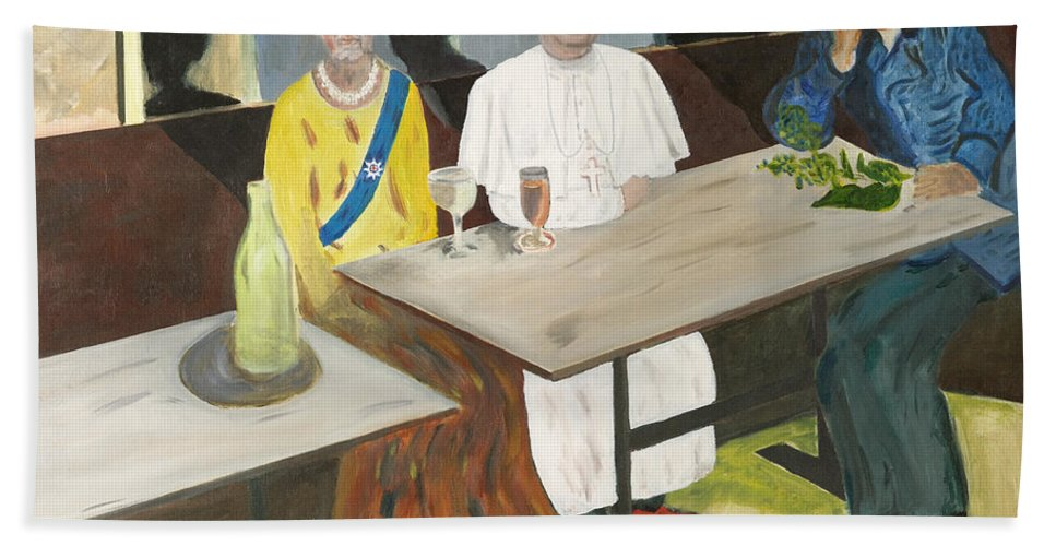 Pub Bath Sheet featuring the painting In The Pub by Avi Lehrer