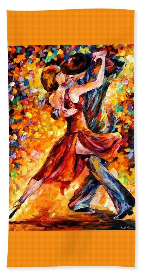 Afremov Bath Sheet featuring the painting In The Rhythm Of Tango by Leonid Afremov