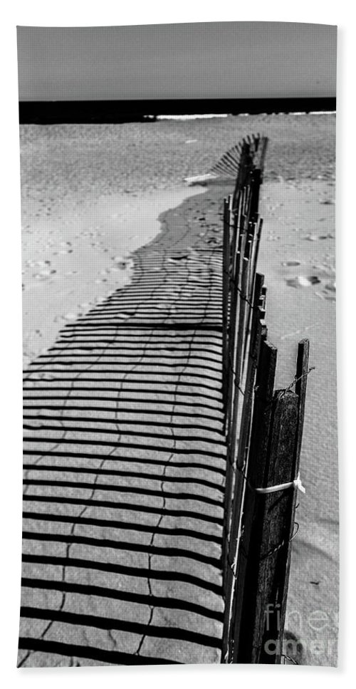Fence Hand Towel featuring the photograph In The Sand by Colleen Kammerer