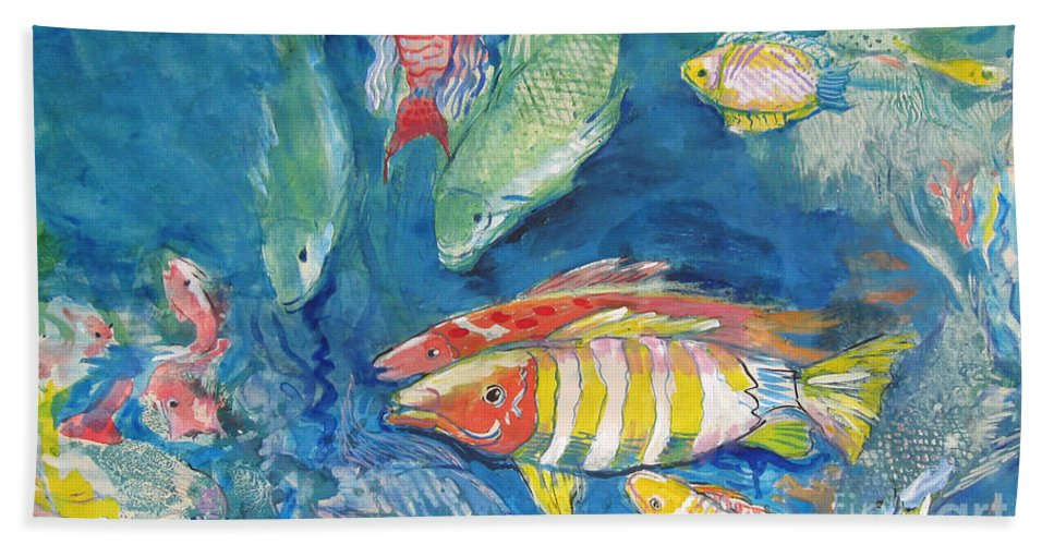 Water Hand Towel featuring the painting In the Sea by Guanyu Shi