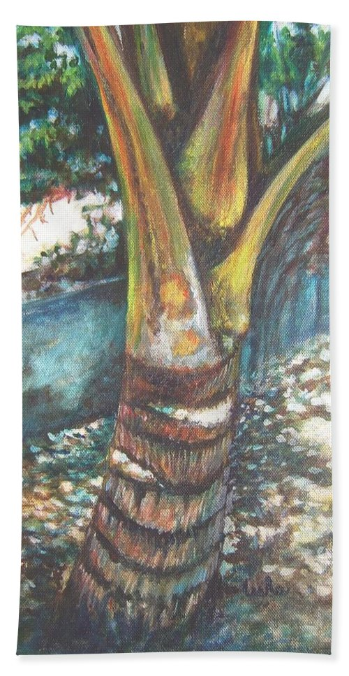 Shade Hand Towel featuring the painting In The Shade by Usha Shantharam