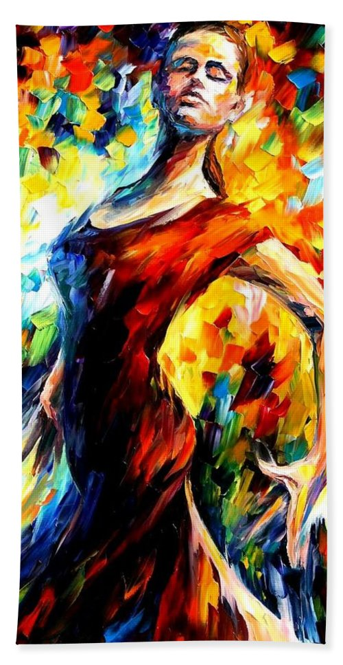 Afremov Bath Sheet featuring the painting In The Style Of Flamenco by Leonid Afremov