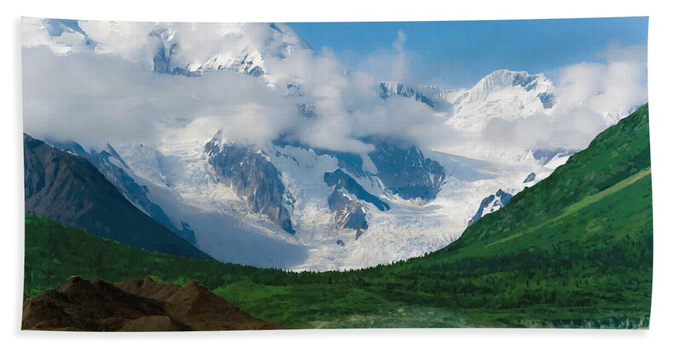 Alaska Hand Towel featuring the digital art In The Valley by Max Steinwald