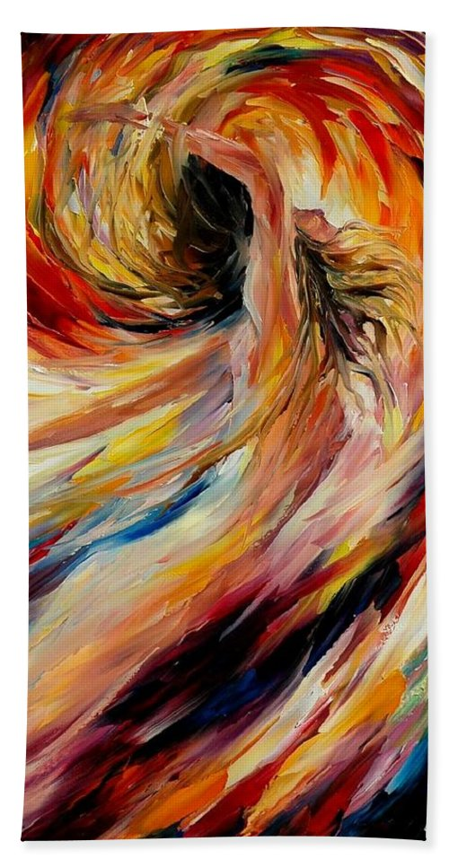 Nude Bath Towel featuring the painting In The Vortex Of Passion by Leonid Afremov