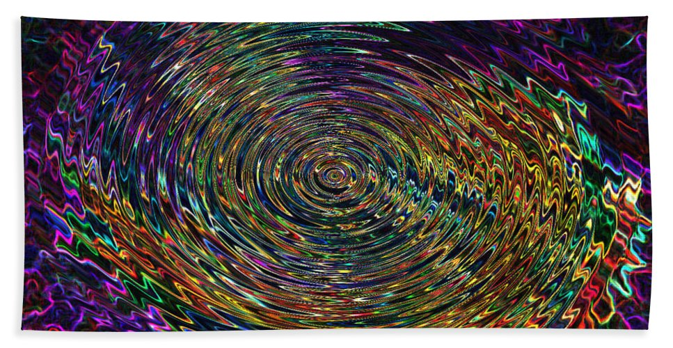 Abstract Bath Sheet featuring the digital art In The Whirl Of Light by Iliyan Bozhanov