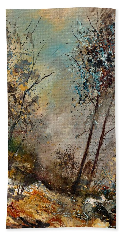 Wood Bath Sheet featuring the painting In The Wood 451180 by Pol Ledent