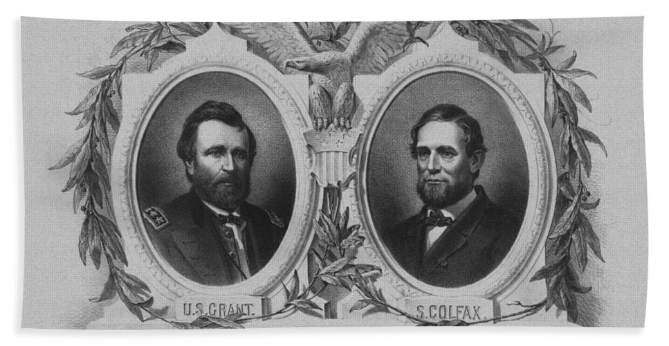 Us Grant Hand Towel featuring the mixed media In Union Is Strength - Ulysses S. Grant And Schuyler Colfax by War Is Hell Store